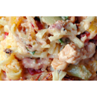 Pasta-groenten-bacon gratin